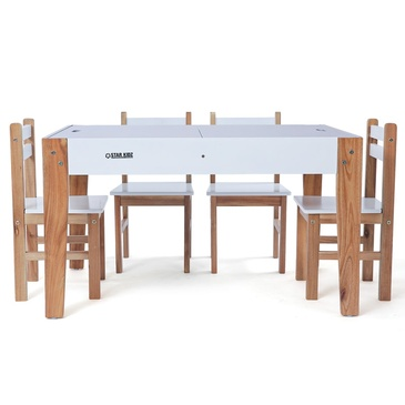 Nu Byron Activity Rectangle Table & 4 Chairs Set - White
