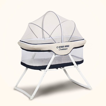 Compagno Baby Portable Bassinet Blue - Mattress & Travel Bag Included