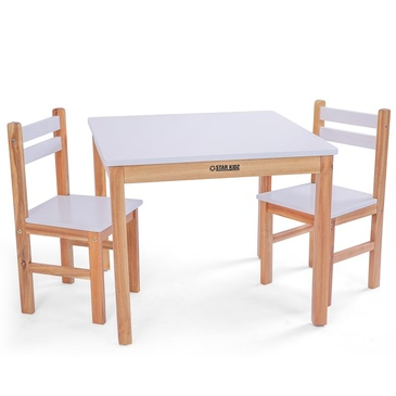 Nu Elwood Square Table & 2 Chairs Set - White