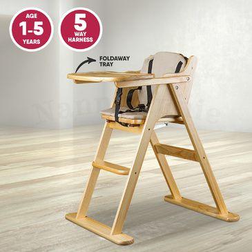 Wooden Folding Baby Highchair Fold Away High Chair Beech Colour