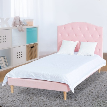 Star Kidz Luna Bed King Single Pink Velvet