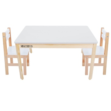 Nu Elwood Rectangle Table & 2 Chairs Set - White