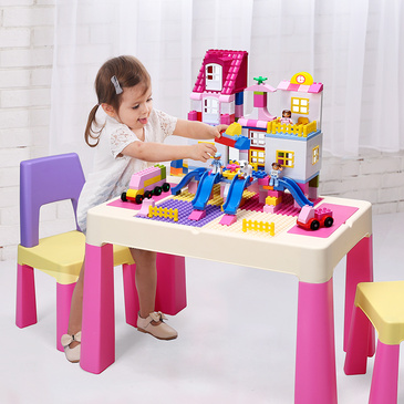 Pluto Multifunction Lego Activity Table & 2 Chairs Set - Pink
