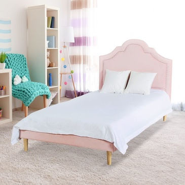 Star Kidz Stella Bed Single Pink Velvet