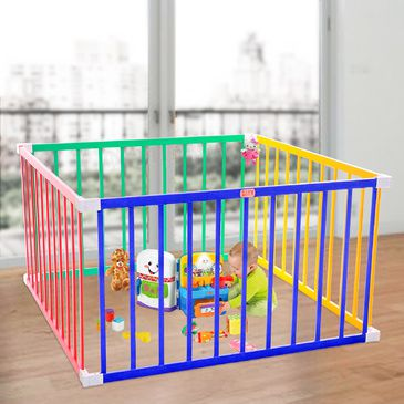 Tikk Tokk BOSS Coloured Square Playpen | Baby Toddler Play Pen in Coloured Timber
