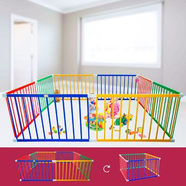 Tikk Tokk Giant Square Coloured Playpen | Coloured Wooden Playpen