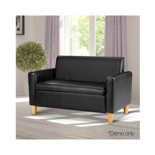 Siena Kid's PU Leather Double Arm Chair - Black