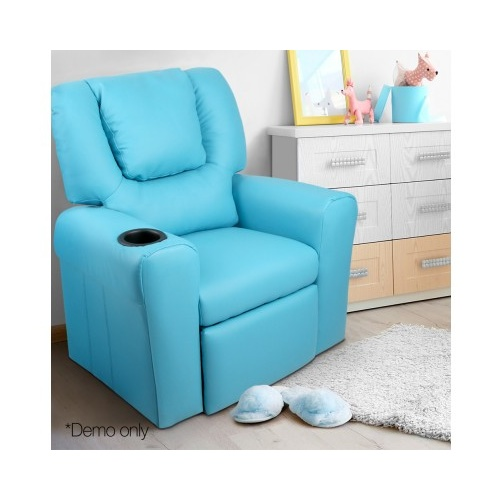 Rome Kid's PU Leather Reclining Arm Chair - Blue