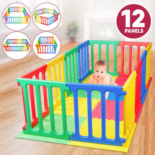 Happy Panel Plastic Playpen and EVA Mat | Rectangle 1.1m x 2.15m Kids Playpen