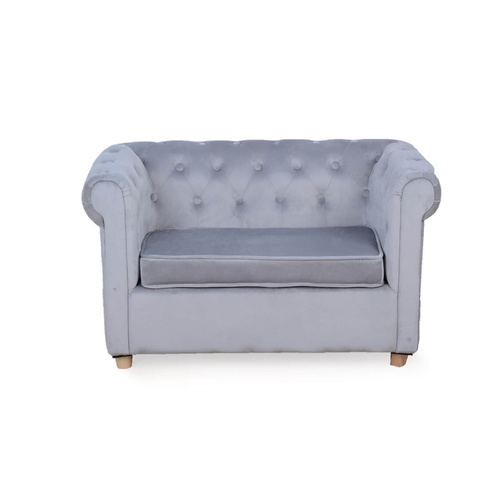 Star Kidz Chesterfield  Sofa - Grey Velvet