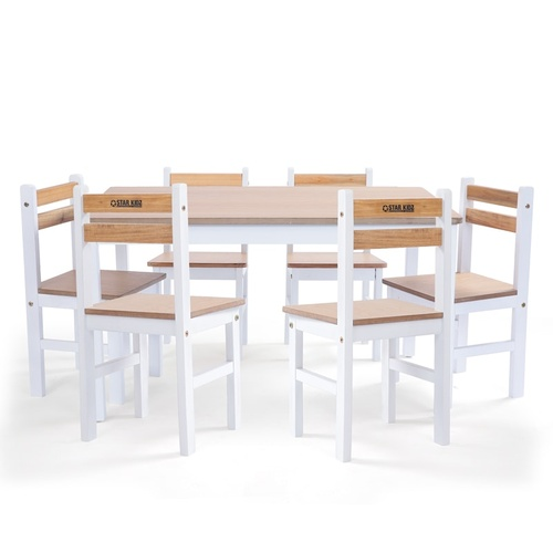 2020 Star Kidz Elwood Rectangle Table & 6 Chairs Set - Inverted White