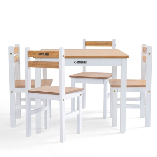2020 Star Kidz Elwood Square Table & 4 Chairs Set - Inverted White