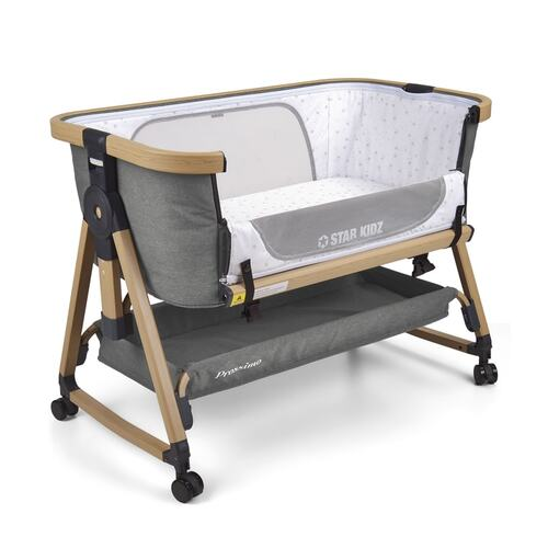 Star Kidz Prossimo Premium Co-Sleeper Bedside Bassinet - Grey