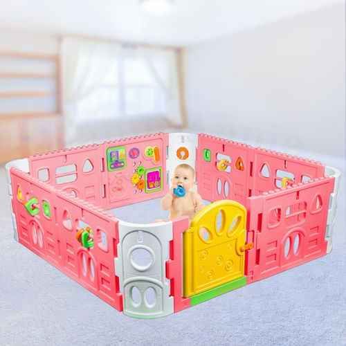 Baby Playpen with Gate and Activities 1.6m Square - Pink